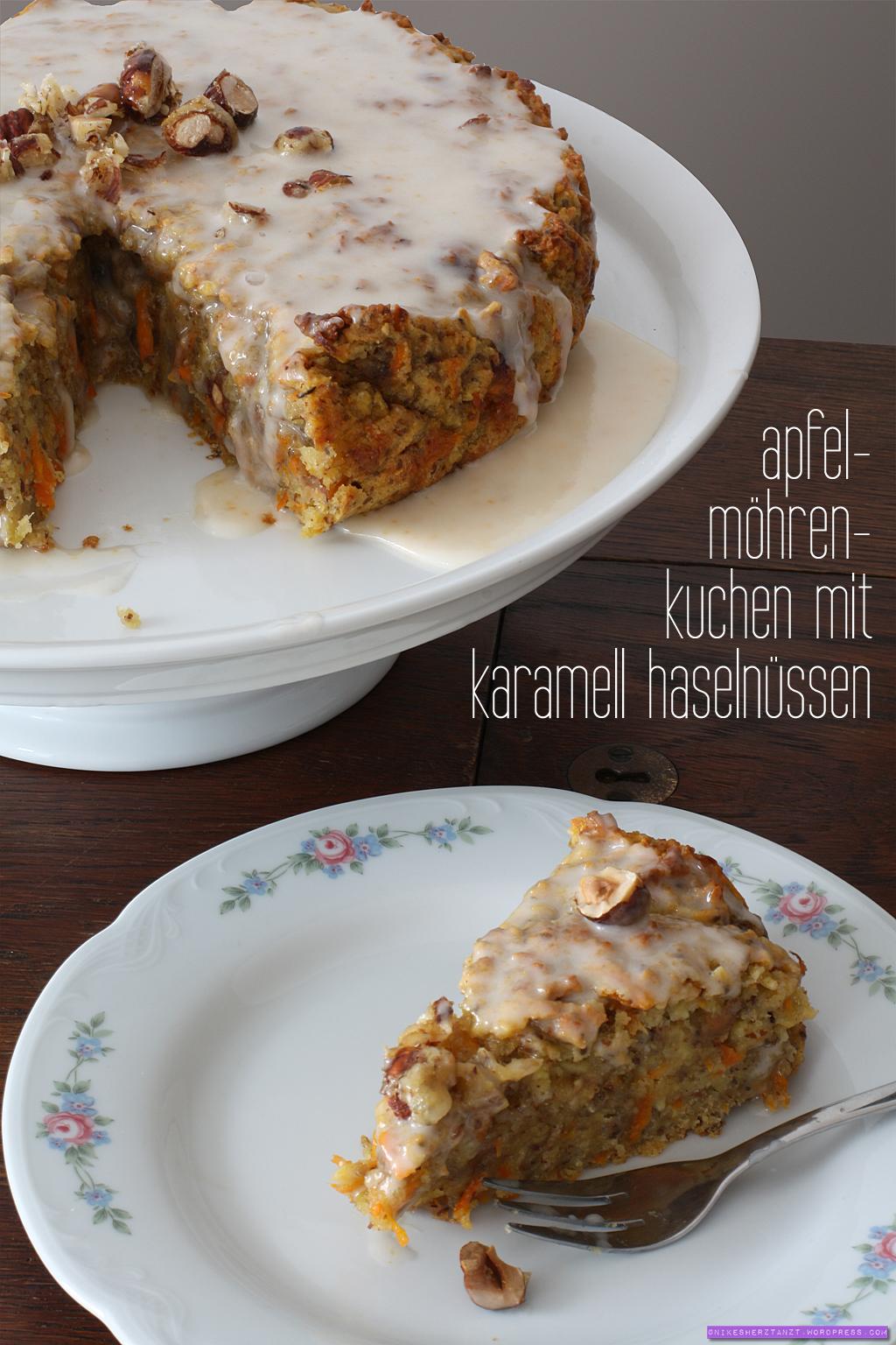 apfel-möhren-kuchen mit karamell haselnüssen, vegan, food, blog, nikesherztanzt