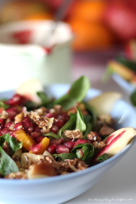 feldsalat, äpfel, orangen, walnüsse, granatapfelkerne, Feldsalat mit Äpfeln, Orangen und Walnüssen , food, blog,nikesherztanzt