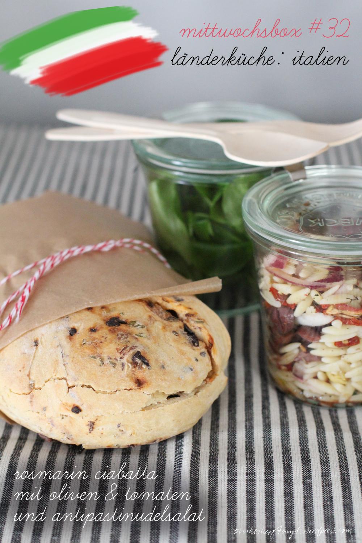 mittwochsbox, länderküche, italien, ciabatta, oliven, tomaten, rosmarin, antipastisalat, nikesherztanzt, food, blog, nikesherztanzt
