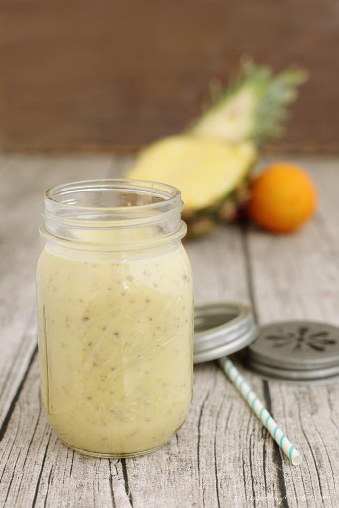 ananas, orange, banane, smoothie, sojajoghurt, nikesherztanzt