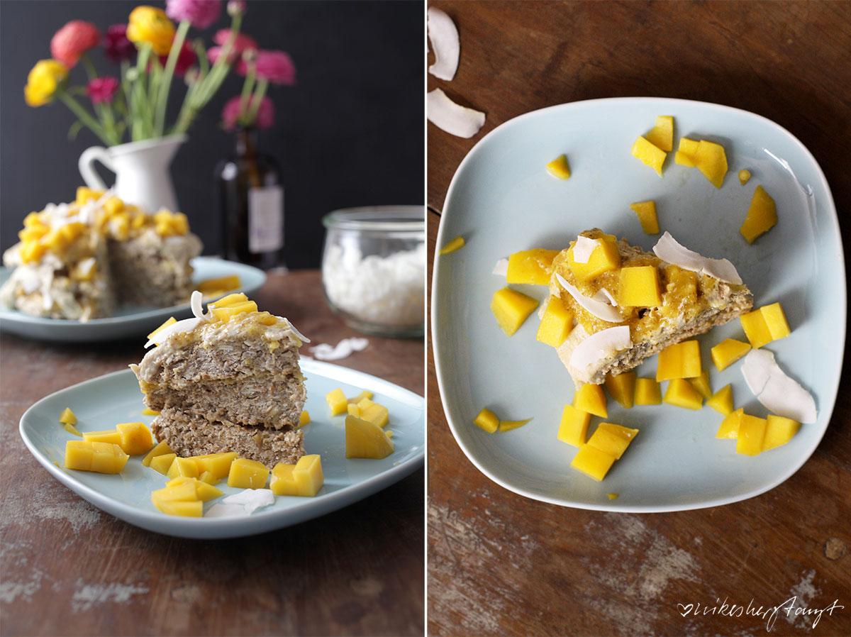 oat cake, vegan, hafer kuchen, layer cake, frühstück, breakfast, mango, kokos, dekadent, ranunkeln, flowers, food, blog, nikesherztanzt