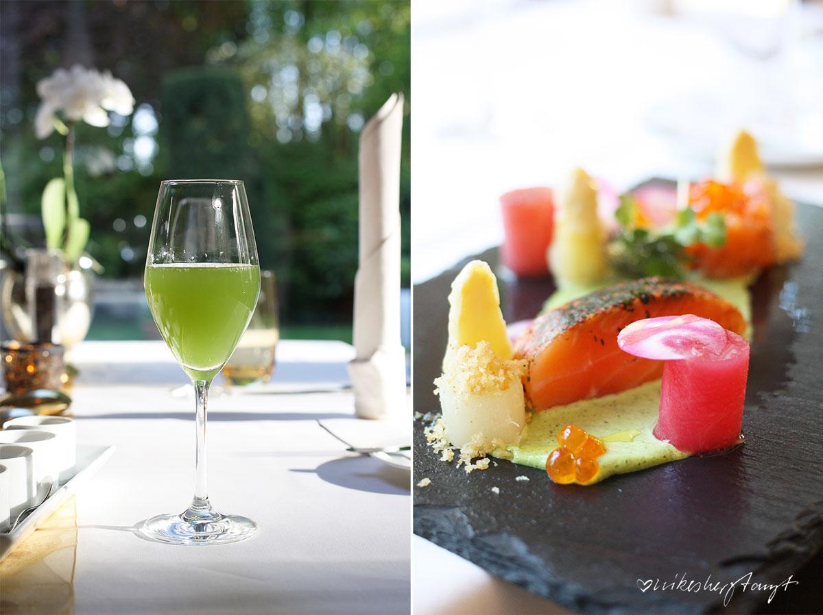 restaurant des mövenpick hotels in münster mit grünem cocktail & gruss aus der küche