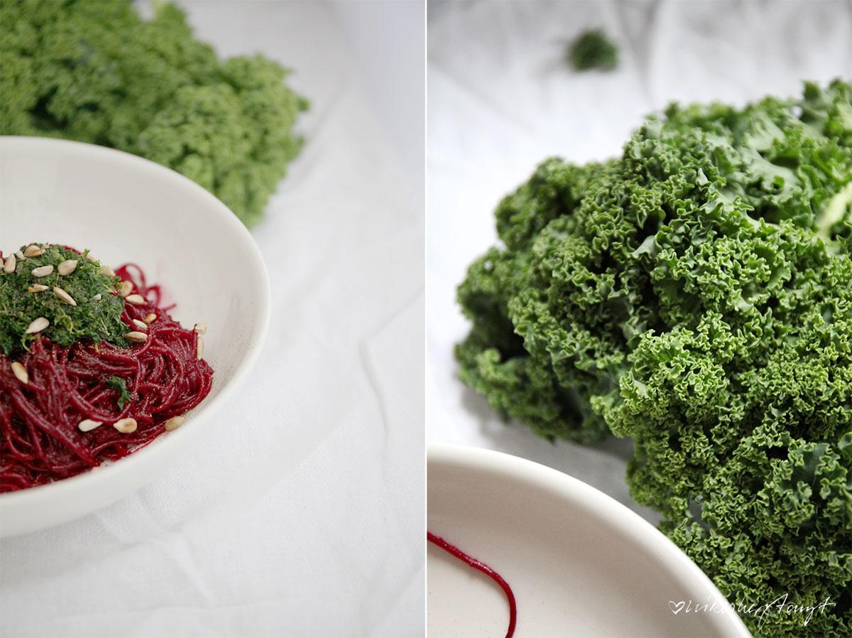 rote bete pasta mit grünkohl pesto und gerösteten sonnenblumenkernen, nikesherztanzt, rezept, food, blog