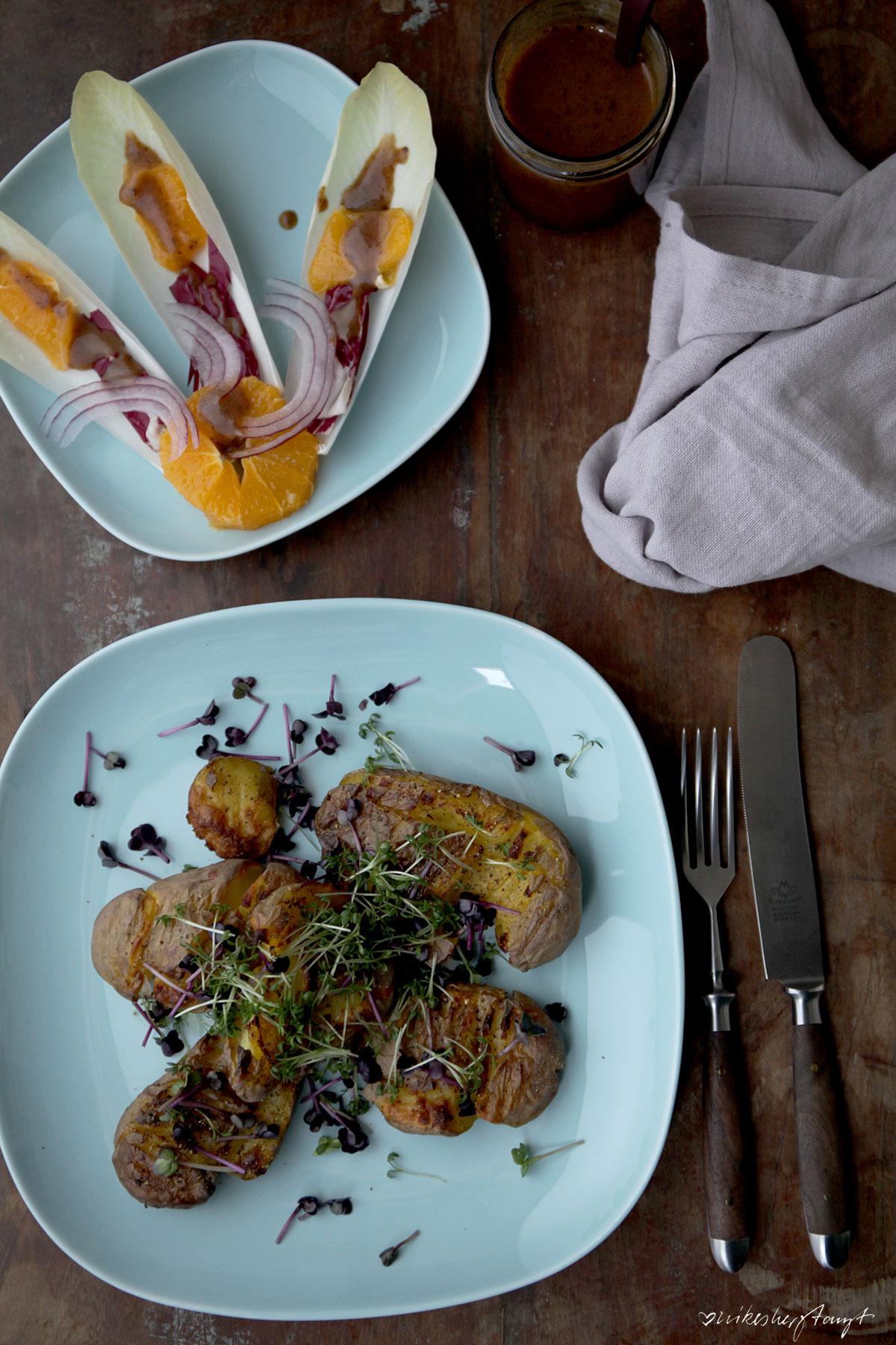 smashed potatoes, kresse, kartoffeln, salat, chicoré, orangen