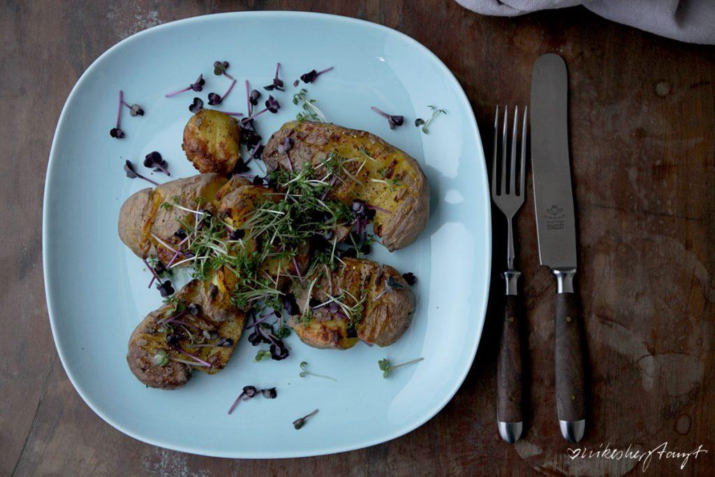 smashed potatoes, kresse, kartoffeln, salat, chicoré, orangen, nikesherztanzt, food, blog