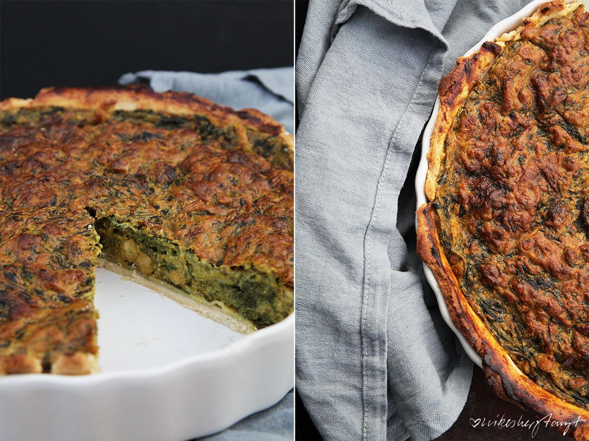 spinat quiche mit gerösteten kichererbsen, vegan.