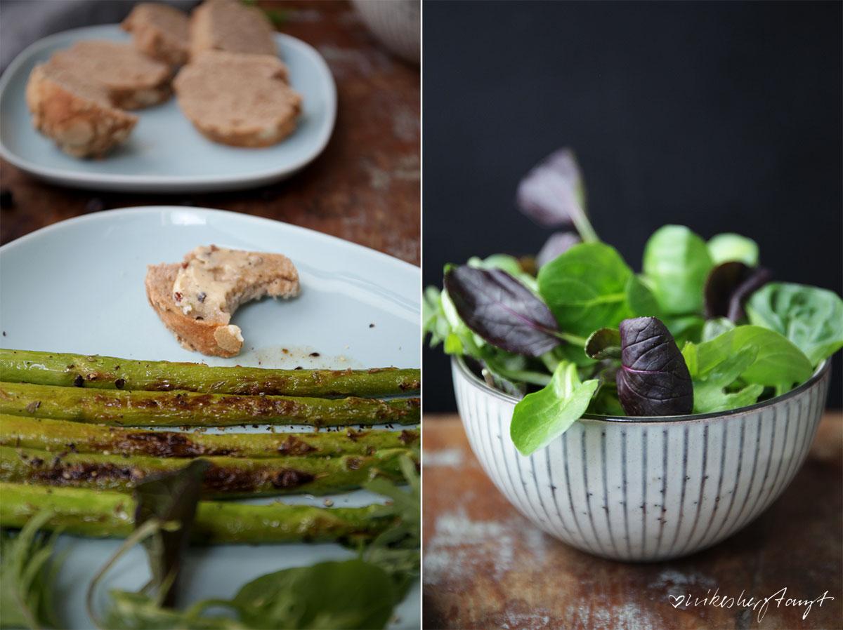 gegrillter grüner spargel mit salat, selbstgebackenem brot und wacholder butter und gin tonic. // nikesherztanzt, blog