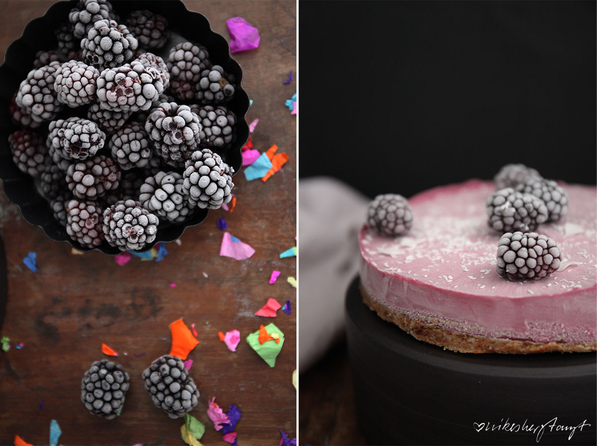 vegan no bake blackberry cheesecake // nikesherztanzt