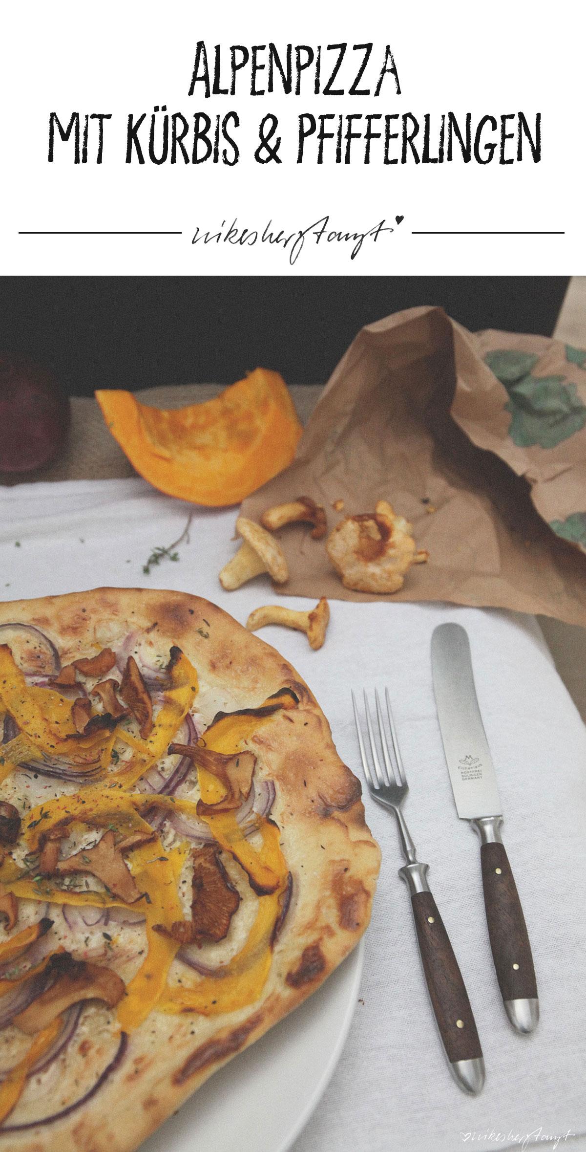 Alpenpizza mit Kürbis und Pfifferlingen // nikesherztanzt