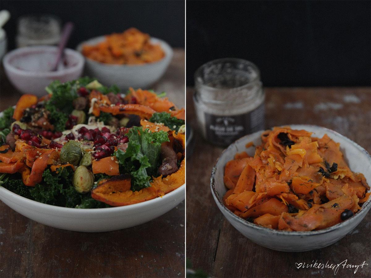 Grünkohlsalat mit Ofengemüse, Karottenlachs, Bohnen, Hummus & Granatapfelkernen // nikesherztanzt