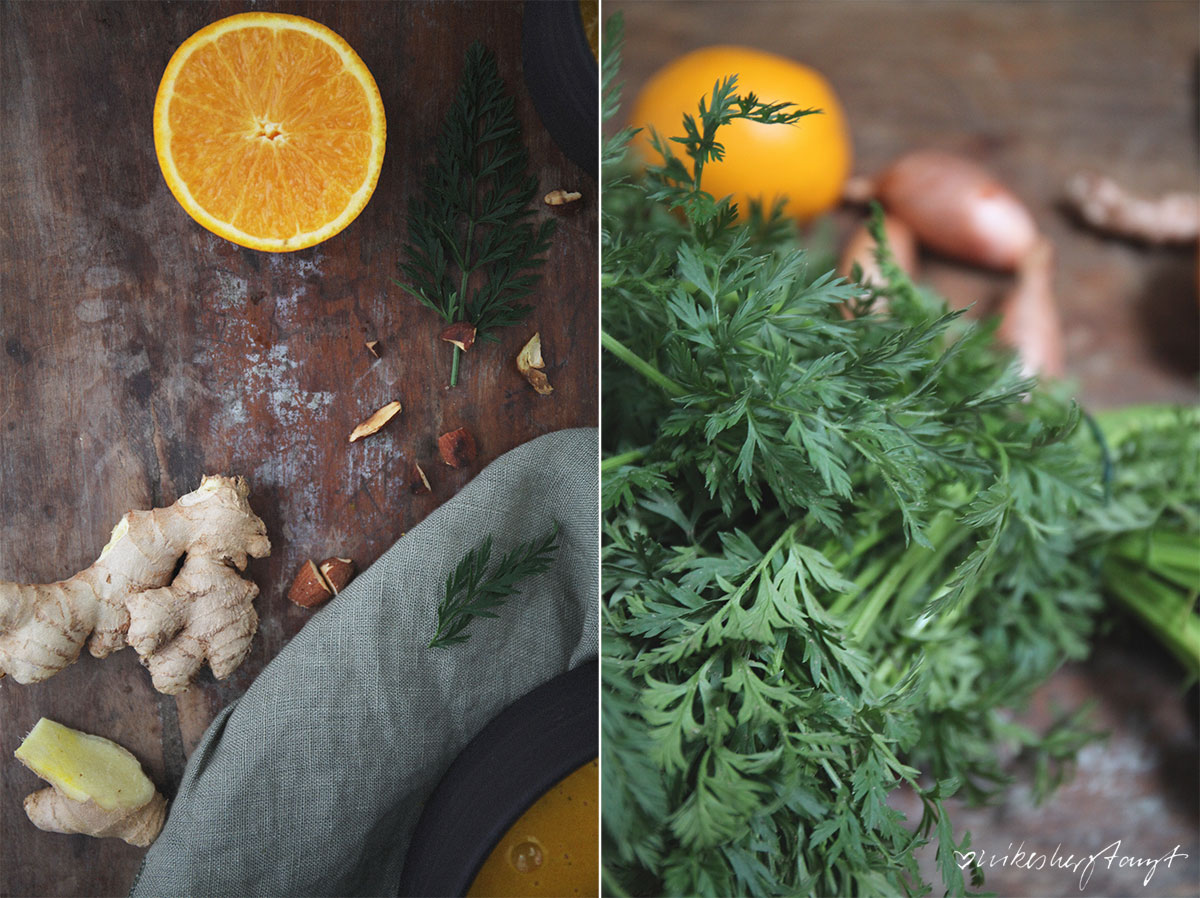 vegane möhren-kokos-suppe mit ingwer und mandeln aus white christmas // nikesherztanzt