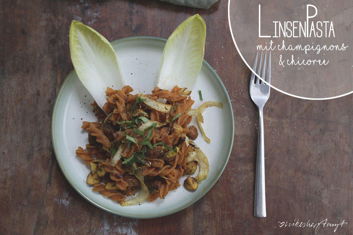 linsennudeln mit champignons und chicoree, vegan, glutenfrei, zuckerfrei, gemüse, nikesherztanzt