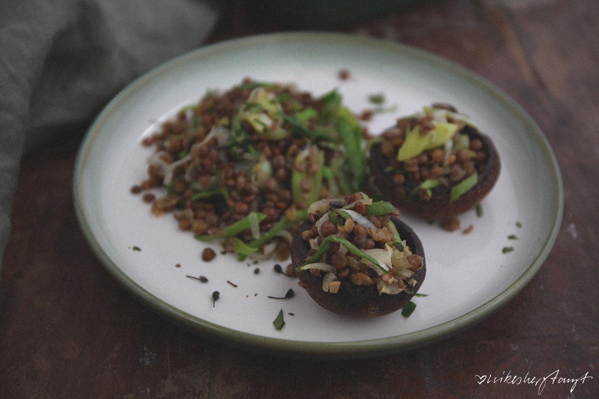 gebackene champignons mit lauch und linsen, nikesherztanzt