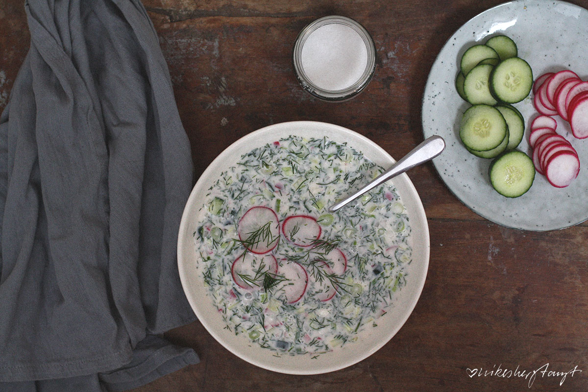 okroschka - kalte suppe aus russland, akroschka, vegan, nikesherztanzt