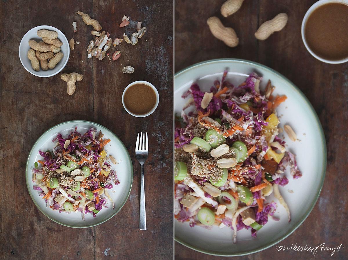 bunter chinakohlsalat mit erdnuss-dressing auf teller auf holzuntergrund // nikesherztanzt